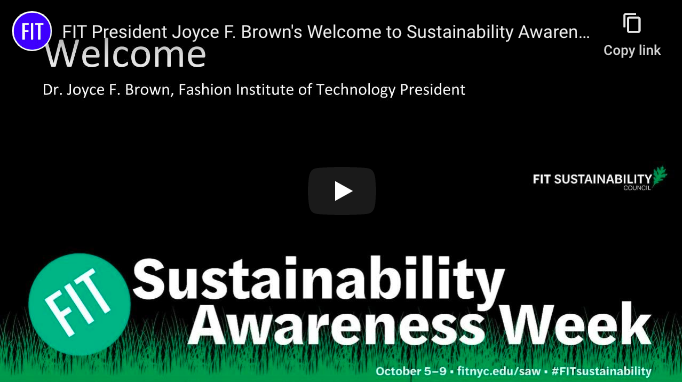 screenshot of opening screen of Dr. Brown's welcome to Sustainability Awareness Week video