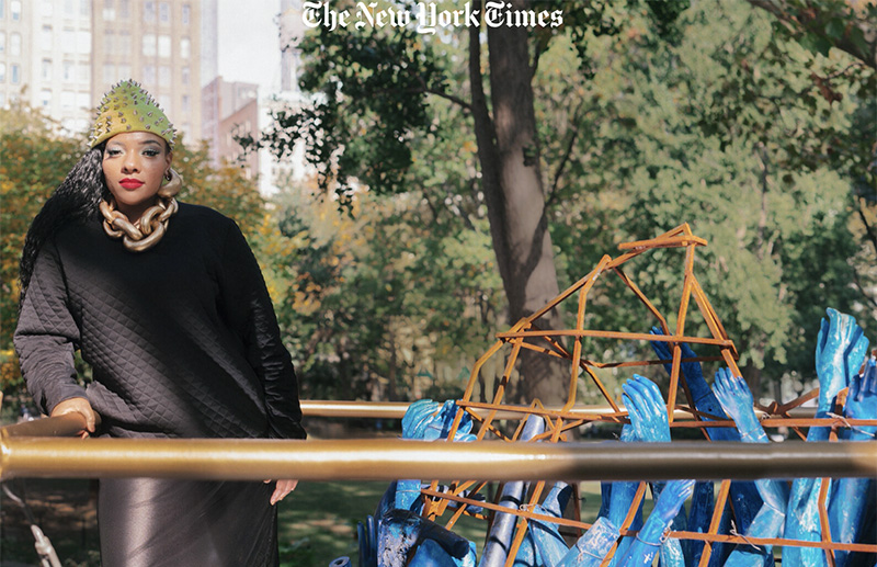 Abigail DeVille with her sculpture in Manhattan's Madison Square Park.Credit...Tonje Thilesen for The New York Times