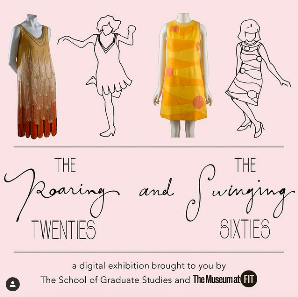 illustrations and garments from the Roaring Twenties and Swinging Sixties exhibition