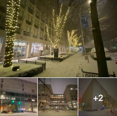collage of photos of FIT campus with snow
