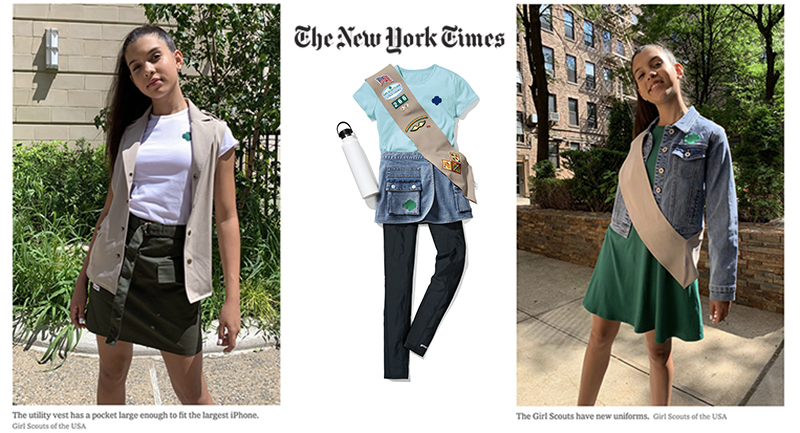 photos of Girl Scouts modeling FIT designed Girl Scout uniforms and the New York Times logo