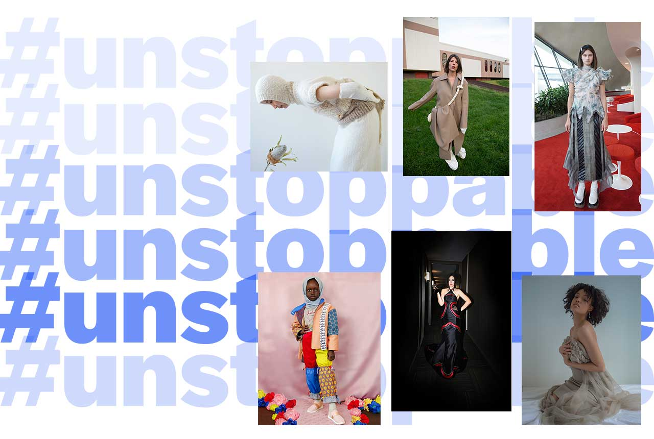 collage of images from the 2021 Future of Fashion online show