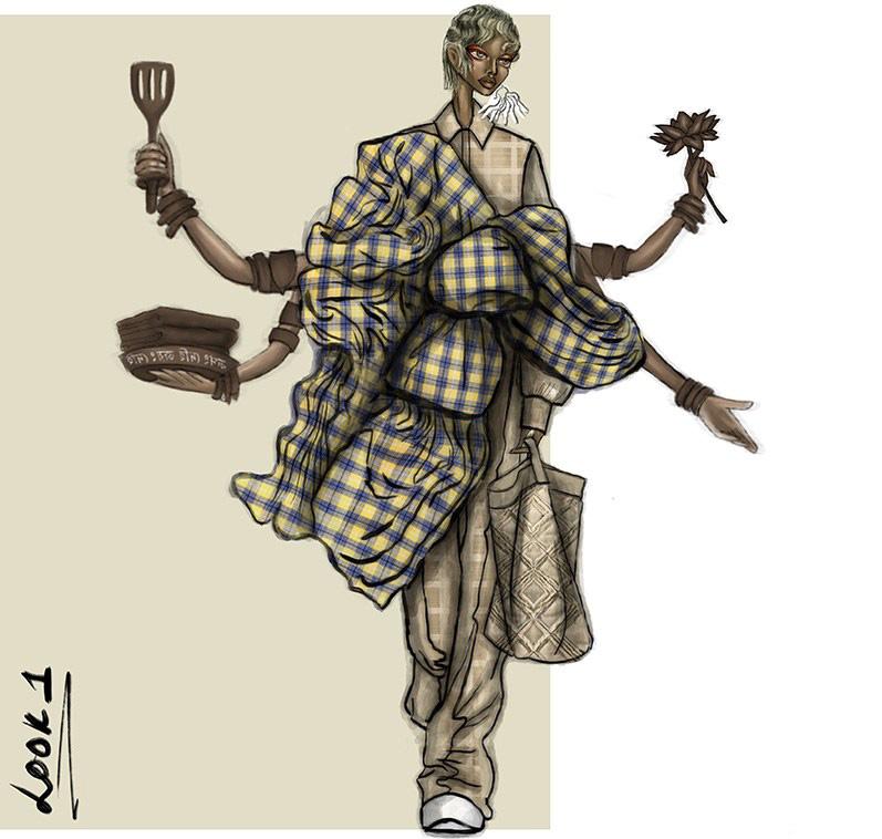 fashion illustration by Mohua Goswami