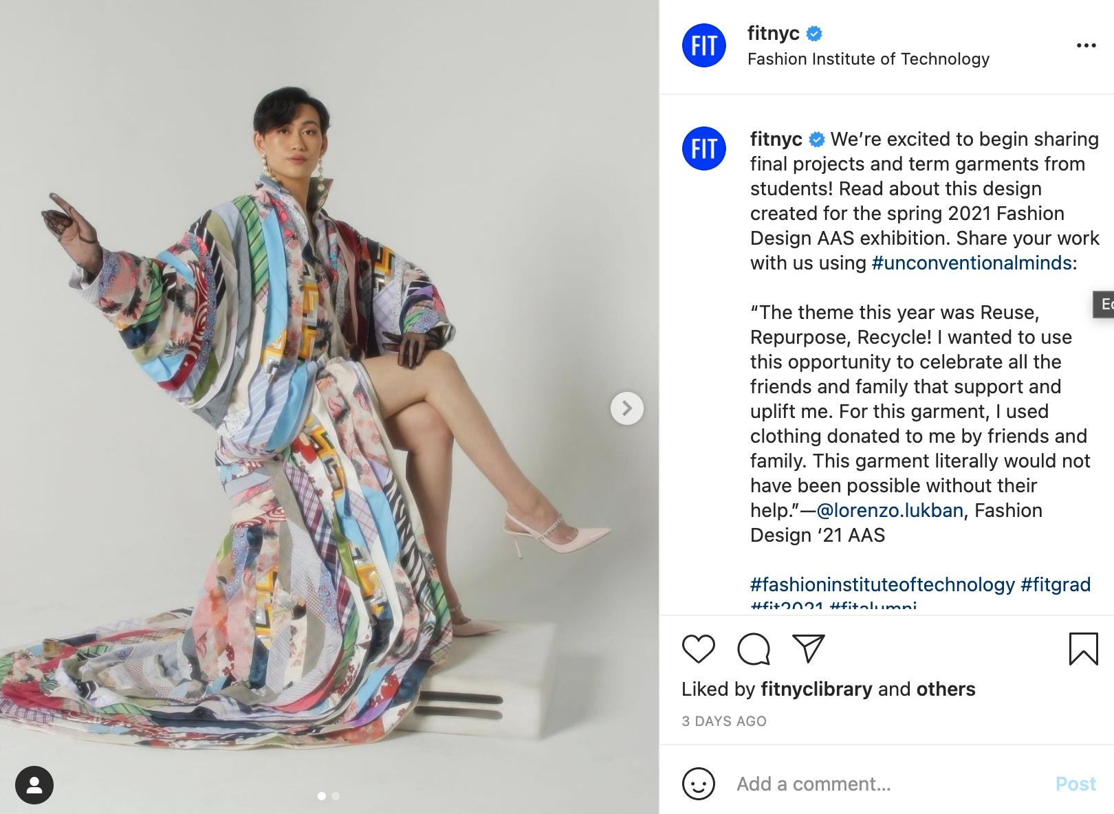 Screenshot of Instagram post featuring work by Lorenzo Lukban