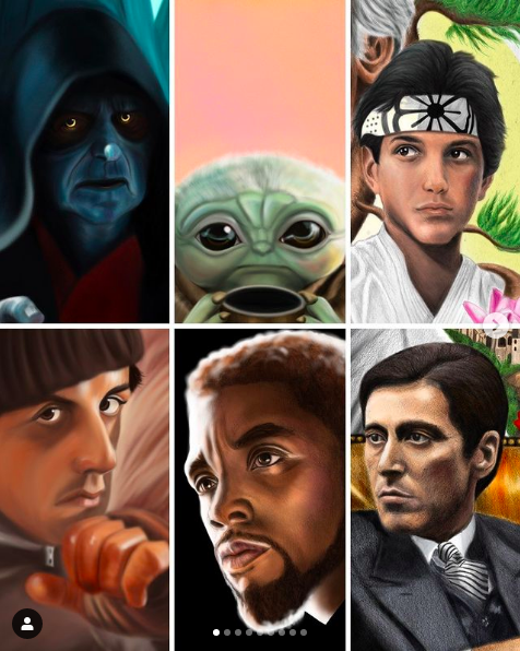 collage of six illustrations of actors from popular films by Stephen Campanella