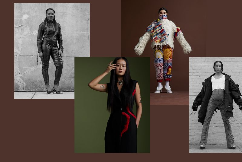 photos of Chadeese Perriel, Su Jin, Zoe Schultz, and Kenneth Ivey wearing their own work