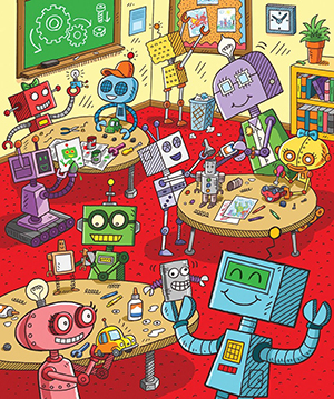 Illustration of robots by Brian Michael Weaver