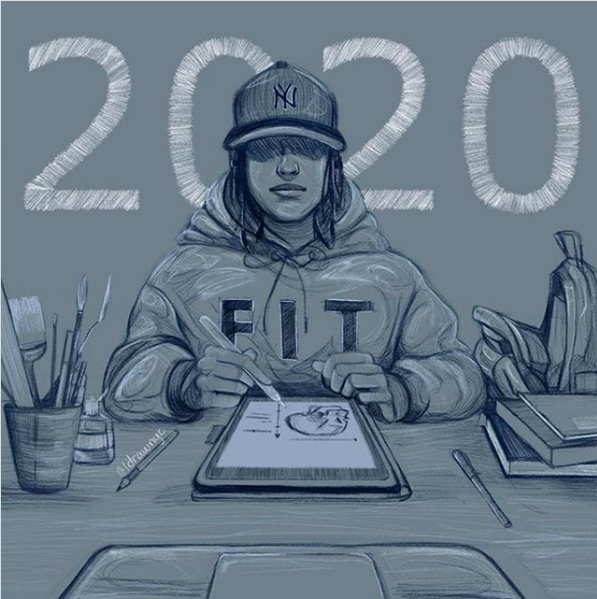 Illustration of a student at a desk with FIT hoodie on by PZ Illustration
