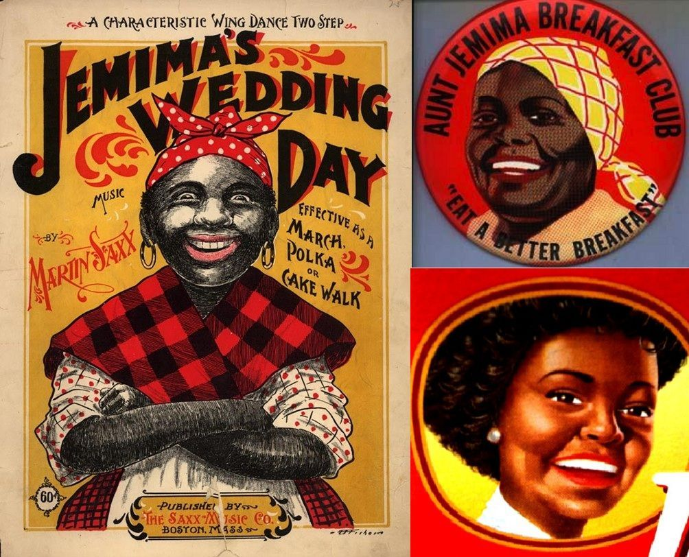 collage of showing evolution of Aunt Jemima branding