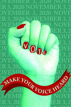 Make Your Voice Heard voting postcard with women's fist upraised and VOTE on the nails by Wei Zhen