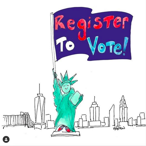 drawing of Statue of Liberty holding a sign saying Register to Vote