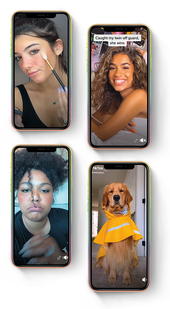 four cellphone screens with images of TikTok stars
