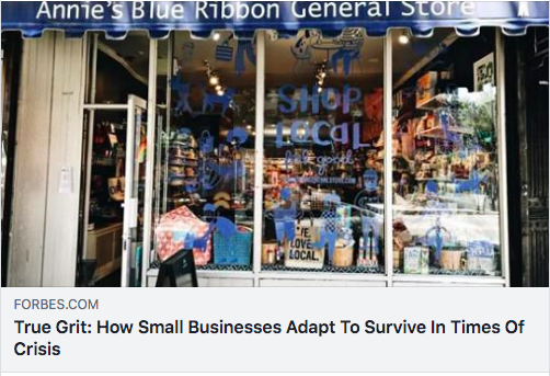 screenshot of Facebook post of Forbes article with storefront of Annies Blue Ribbon General Store