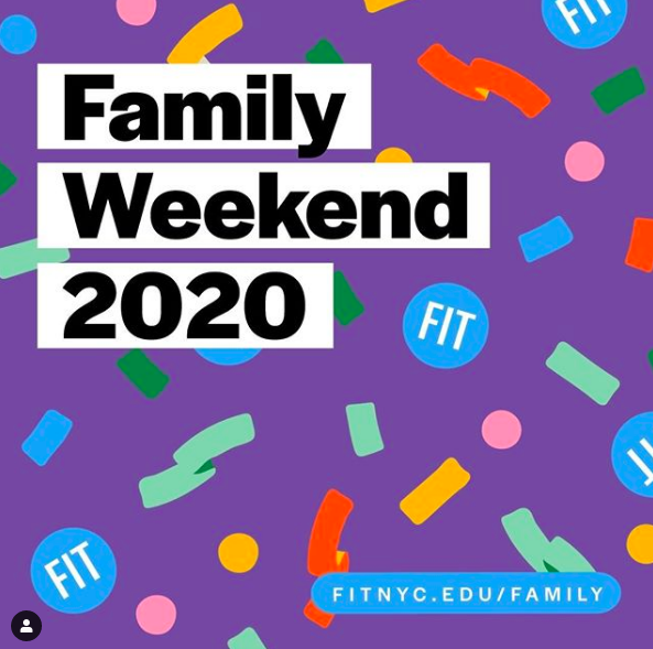 screenshot of FIT Instagram post of Family Weekend 2020 graphic