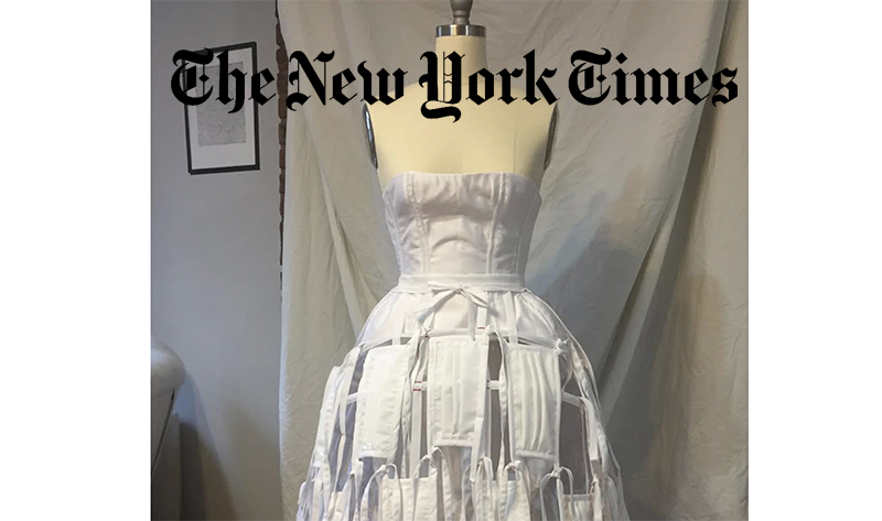 Dress made of white masks made by Hannah Conradt