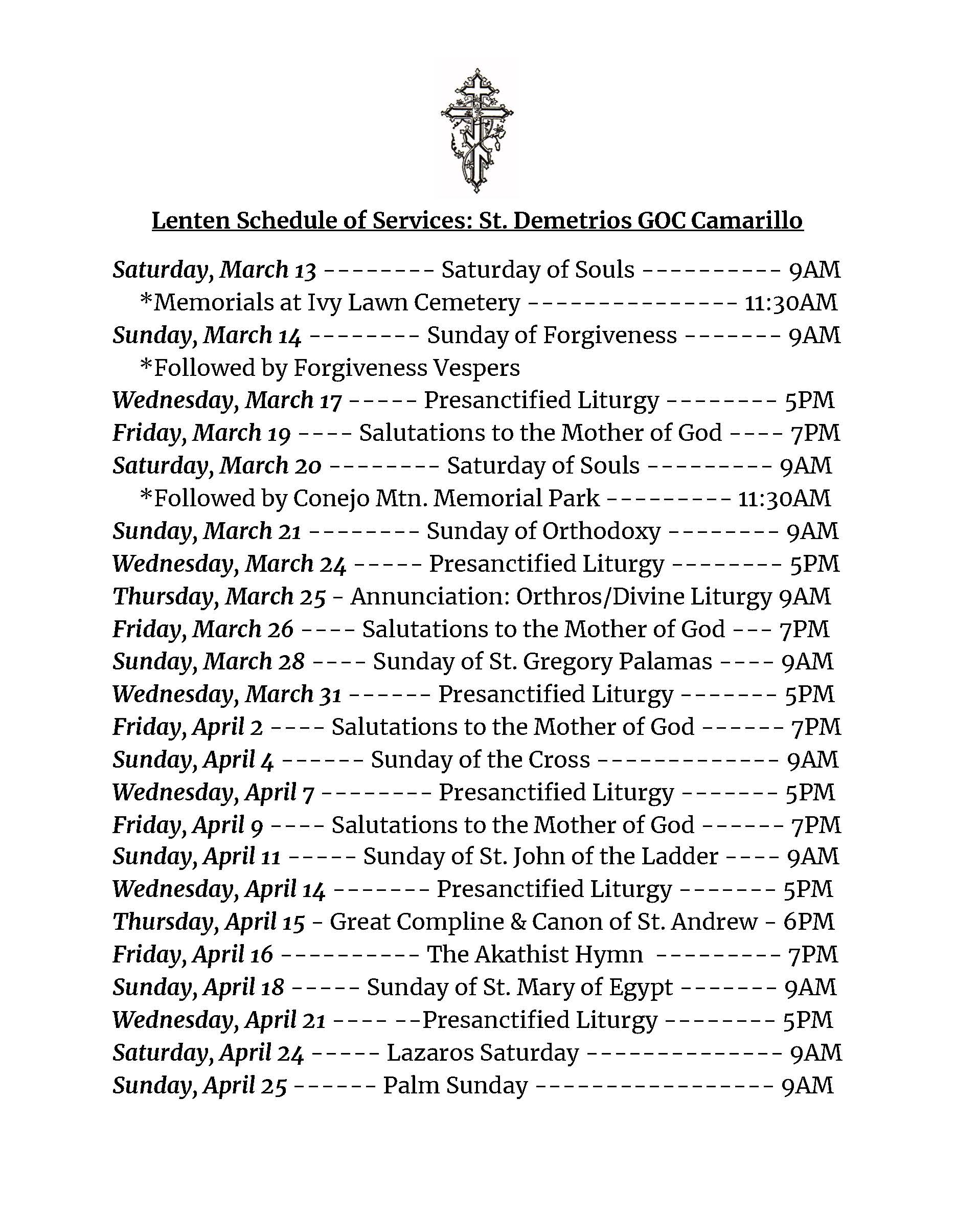 Lenten Schedule of Services