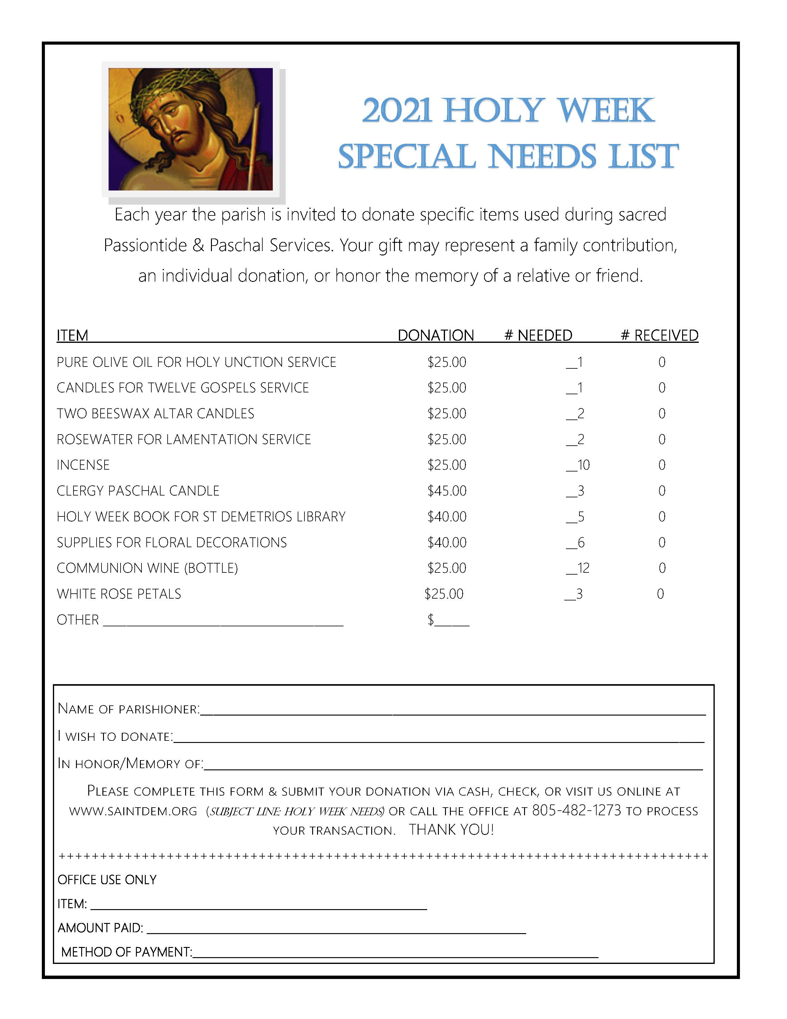 Holy Week Special Needs List