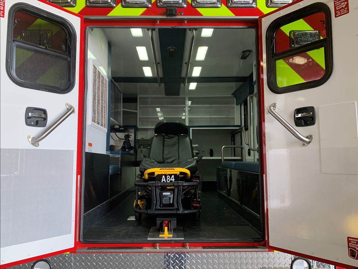 looking through back of ambulance with doors open