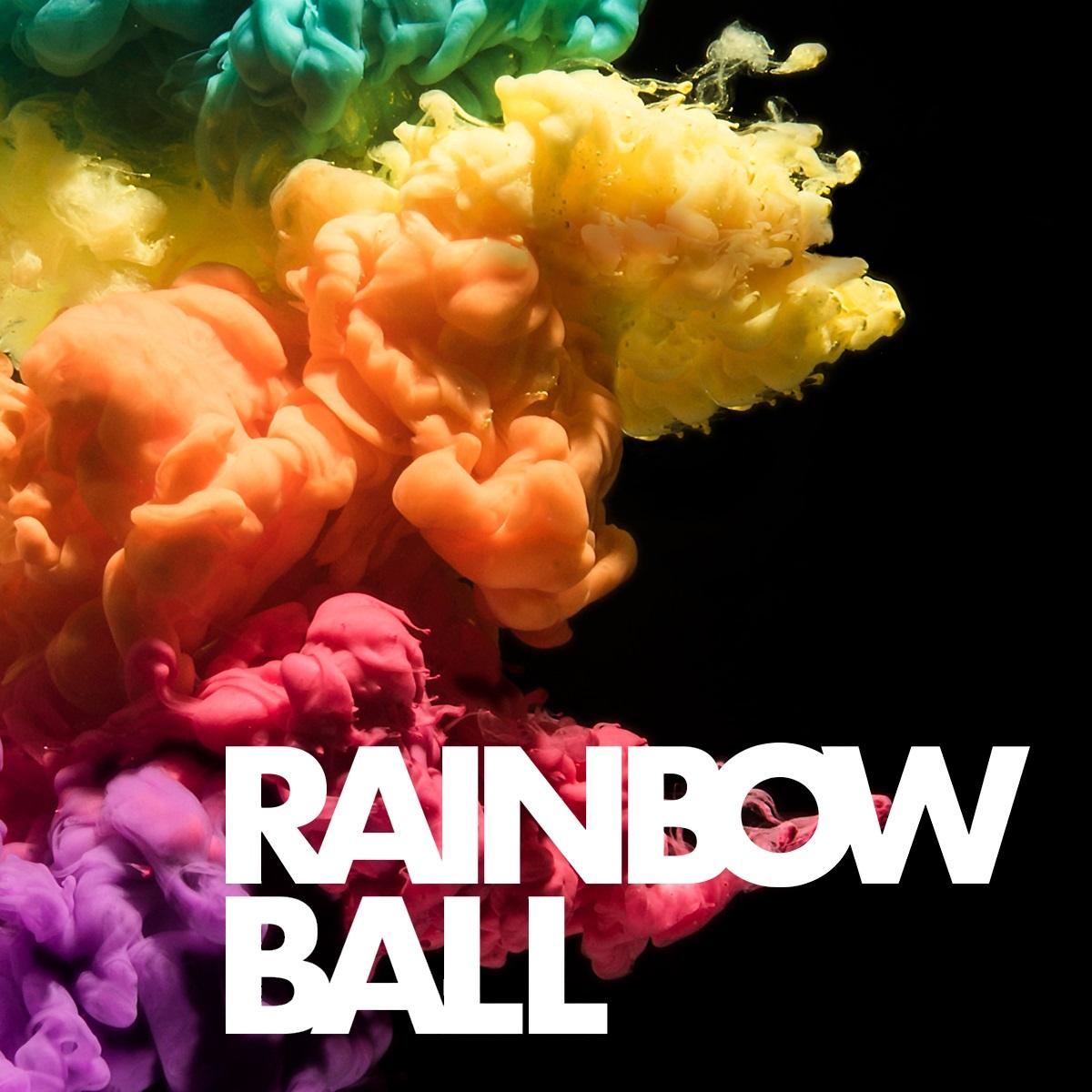 rainbow coloured dust clouds and text reading Rainbow Ball