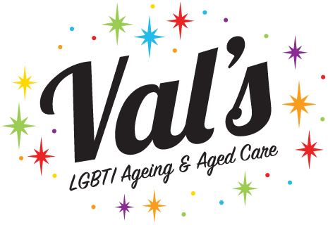 A logo with the word Val's in large font in the centre. Underneath in smaller scriptive font the words LGBTI Ageing & Aged Care. Behind these words are stars of many different colours.