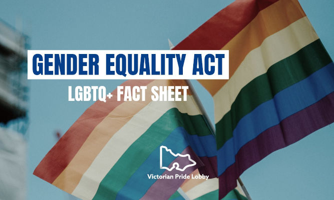 Two pride flags against a blue sky, with the words 'Gender Equality Act LGBTQ+ Fact Sheet' and the logo of the Victorian Pride Lobby in the shape of the state of Victoria