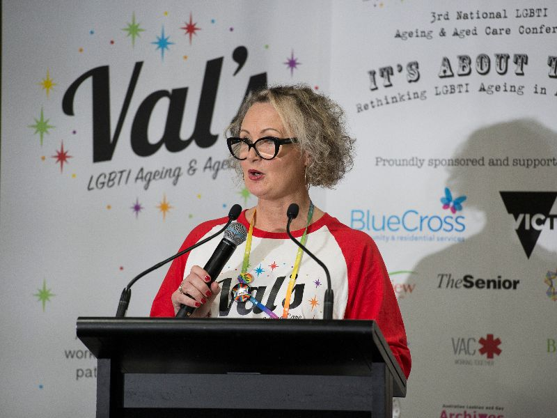 A white woman speaking at the national LGBTI Ageing and Aged Care conference