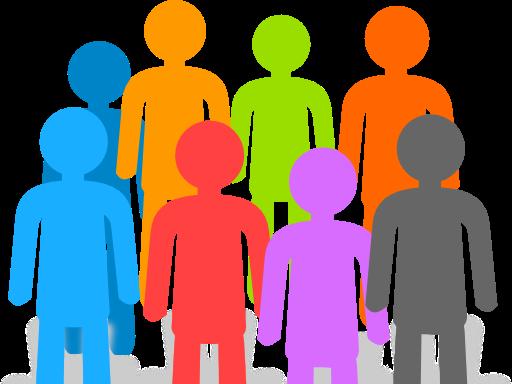 coloured human figures representing population