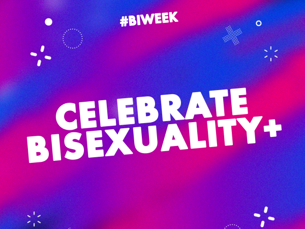 THe words Celebrate Bisexuality+ over a purple and pink coloures background with randomw popping bubbles and small shapes