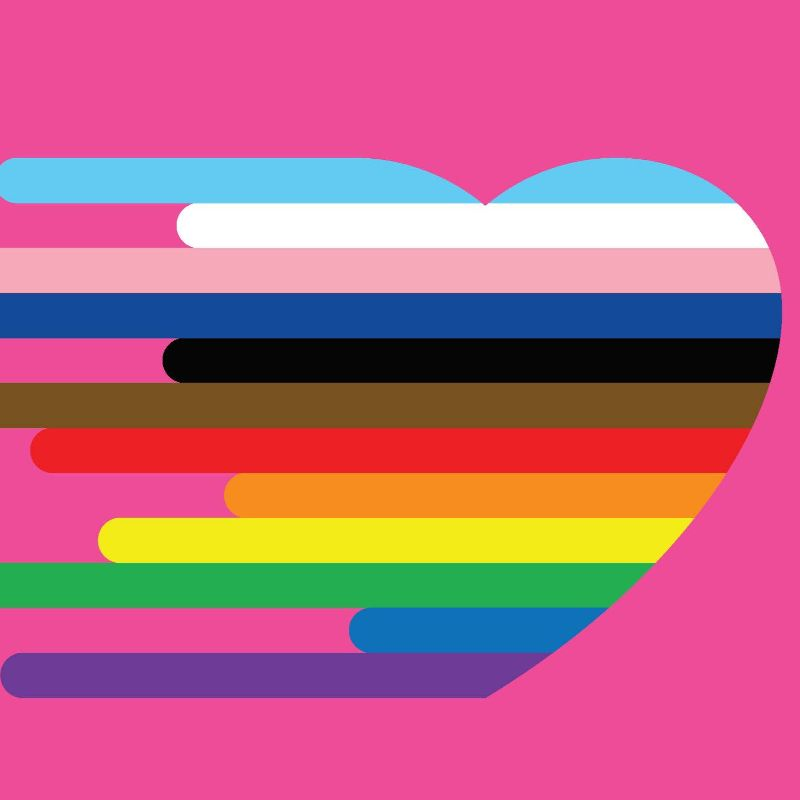 A rainbow love heart over a pink background.