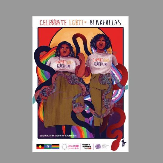 poster showing queer first nations couple