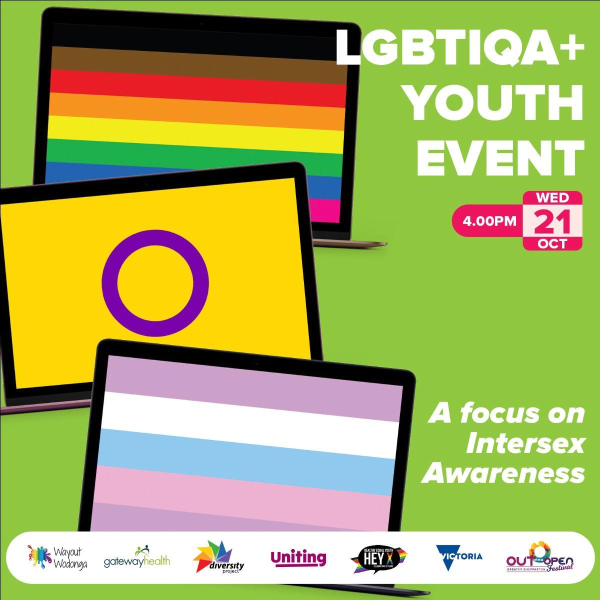 Graphic poster showing rainbow pride flag, intersex pride flag and bigender pride flag