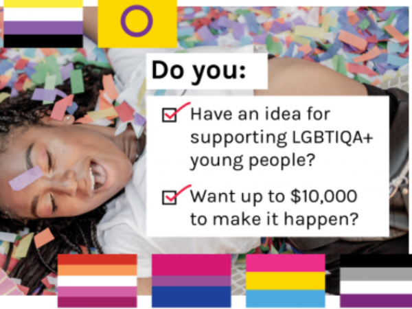 Image of a young person covered in glitter asking do you? Have an idea for supporting LGBTIQA+ young people? And want $10,000 to make it happen?