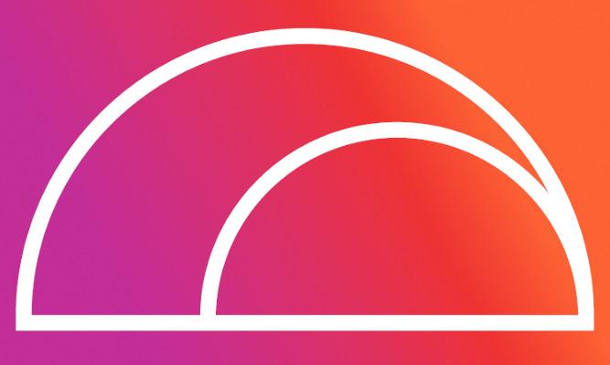 Rainbow Health Victoria arch logo on a purple-orange gradient background