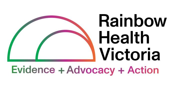 The Rainbow Health Victoria logo, a gradient bold outline of a rainbow with the words Evidence + Advocacy + Action