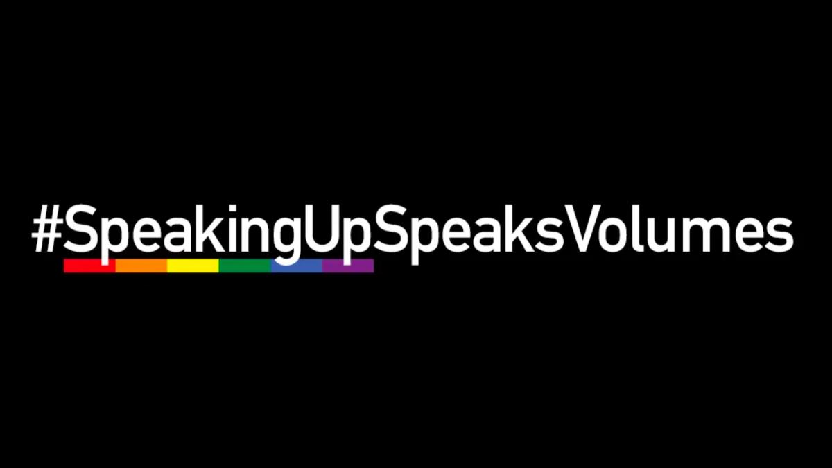 "white text on black reading ""hashtag speaking up speaks volumes"""