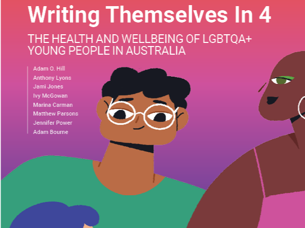 The cover of the the Writing Themselves In 4 National report. It has cartoon drawings of three cartoon teenagers who all wear colourful clothes.