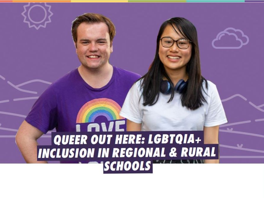 two young people, one wearing rainbow pride tee