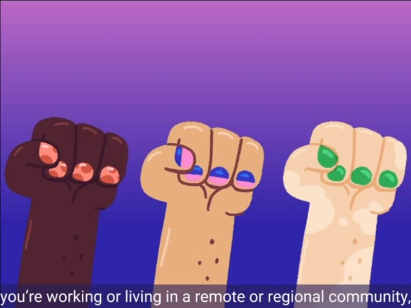 A screen shot of the animation video which has three cartoon fists in the air over a blue gradient background.