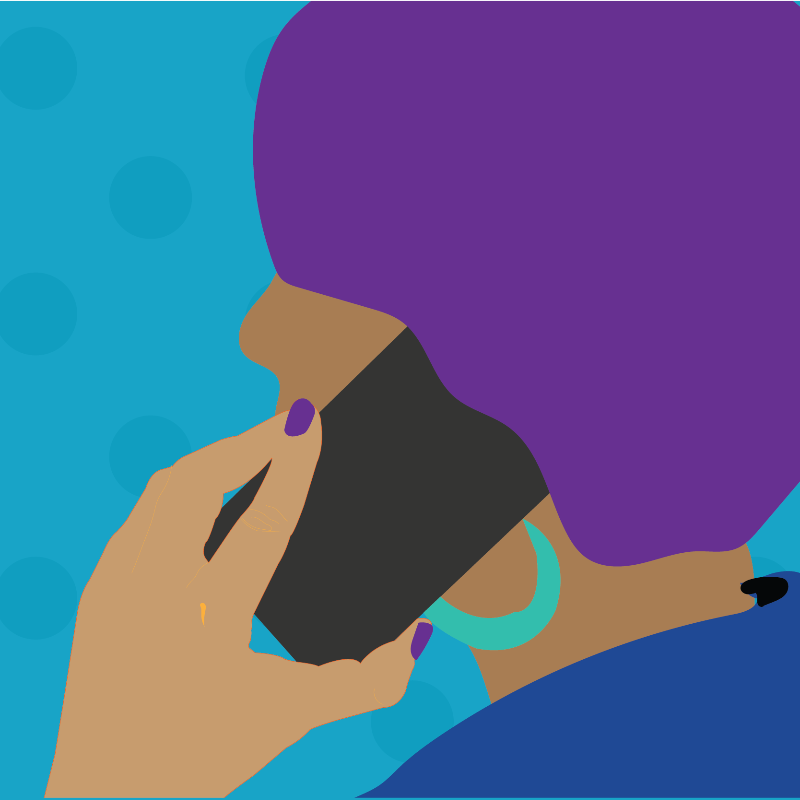A cartoon image of a Person of Colour on a phone call