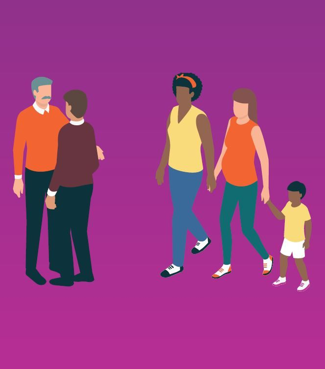 In front of a purple background are cartoon drawings of two gay men staring into eachothers faces and a family of two mums with one small child holding one of their mum's hands.