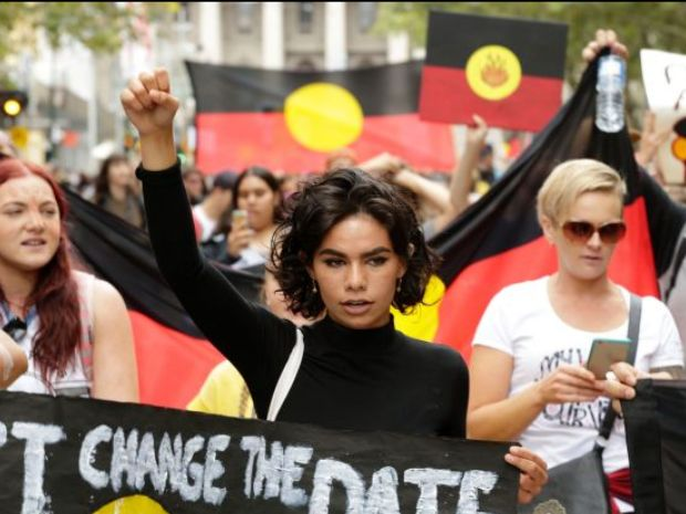 Image of Aretha Brown at Invasion Day Rally