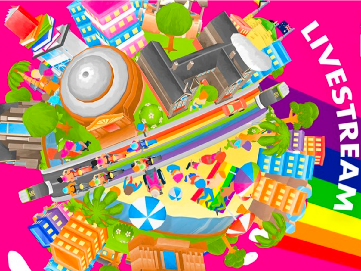 Birdseye view of colourful city with rainbow background