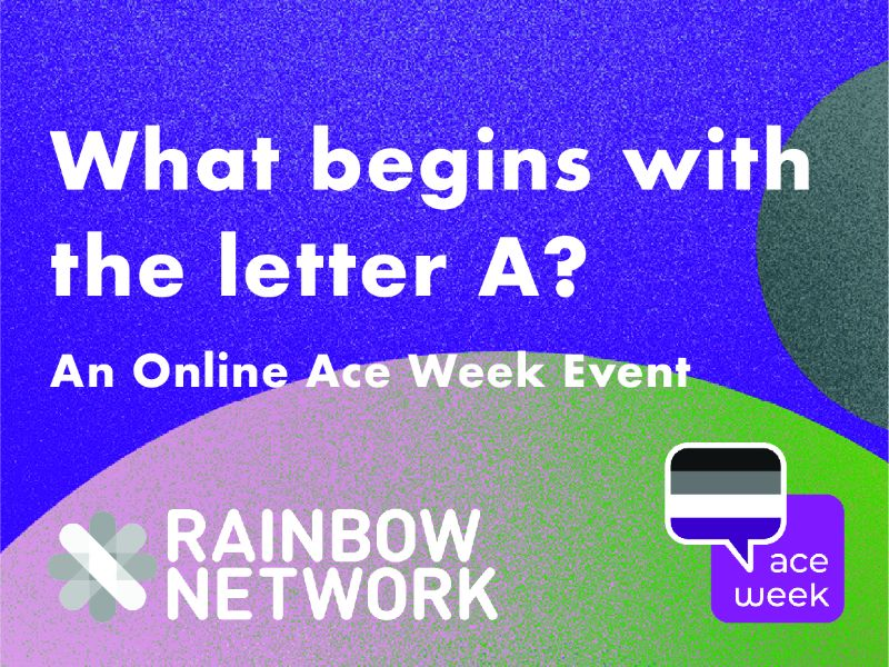THe words what begins with the letter A? An online Ace Week event from Rainbow Network over a purple backgrounds with large green shapes