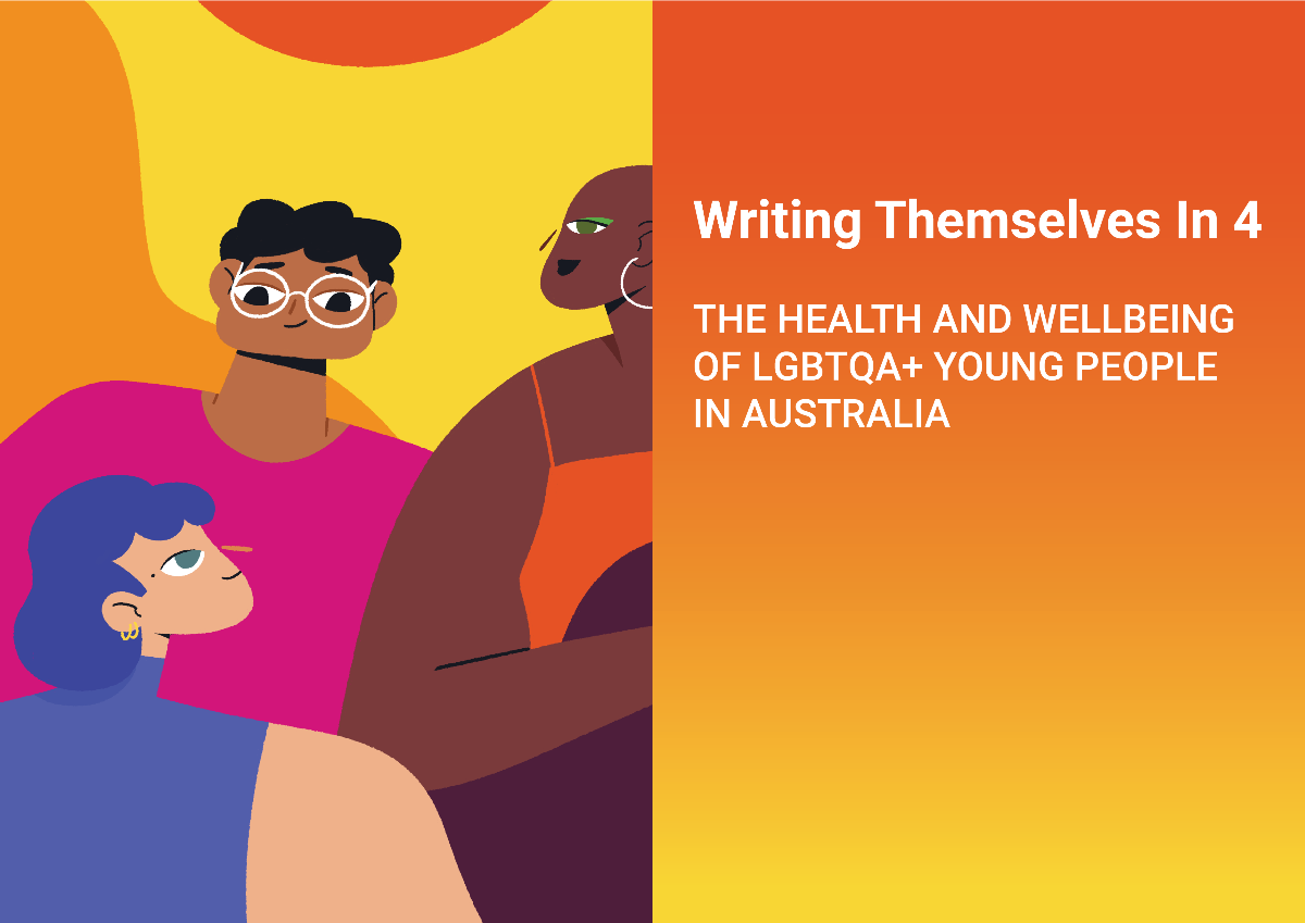 The image has words on the right side saying Writing Themselves In 4: The Health and Wellbeing of LGBTQ+ Young People In Australia. On the left side are 3 cartoon people wearing brightly coloured clothes over a yellow, orange and red background.
