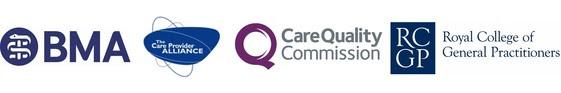 Logos of BMA, CPA, CQC and RCGP
