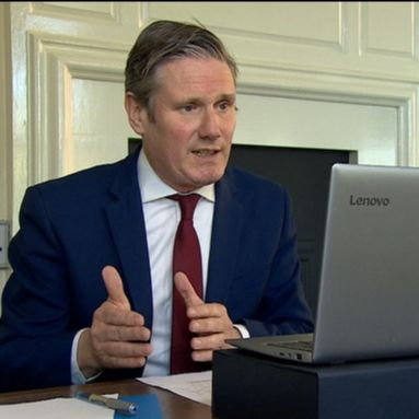 Sir Keir Starmer on video call to care sector representatives (Photo credit: ITN News)
