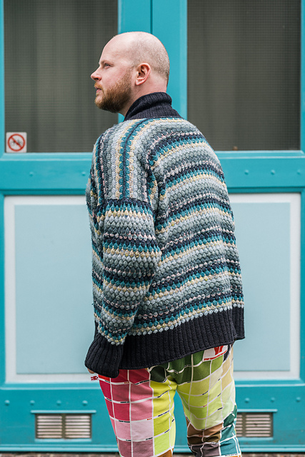 Stephen West in his new bubble cardigan design