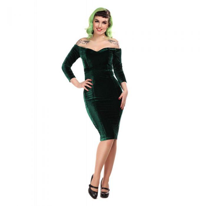 Collectif Anjelica Velvet Pencil Dress Groen €49,95