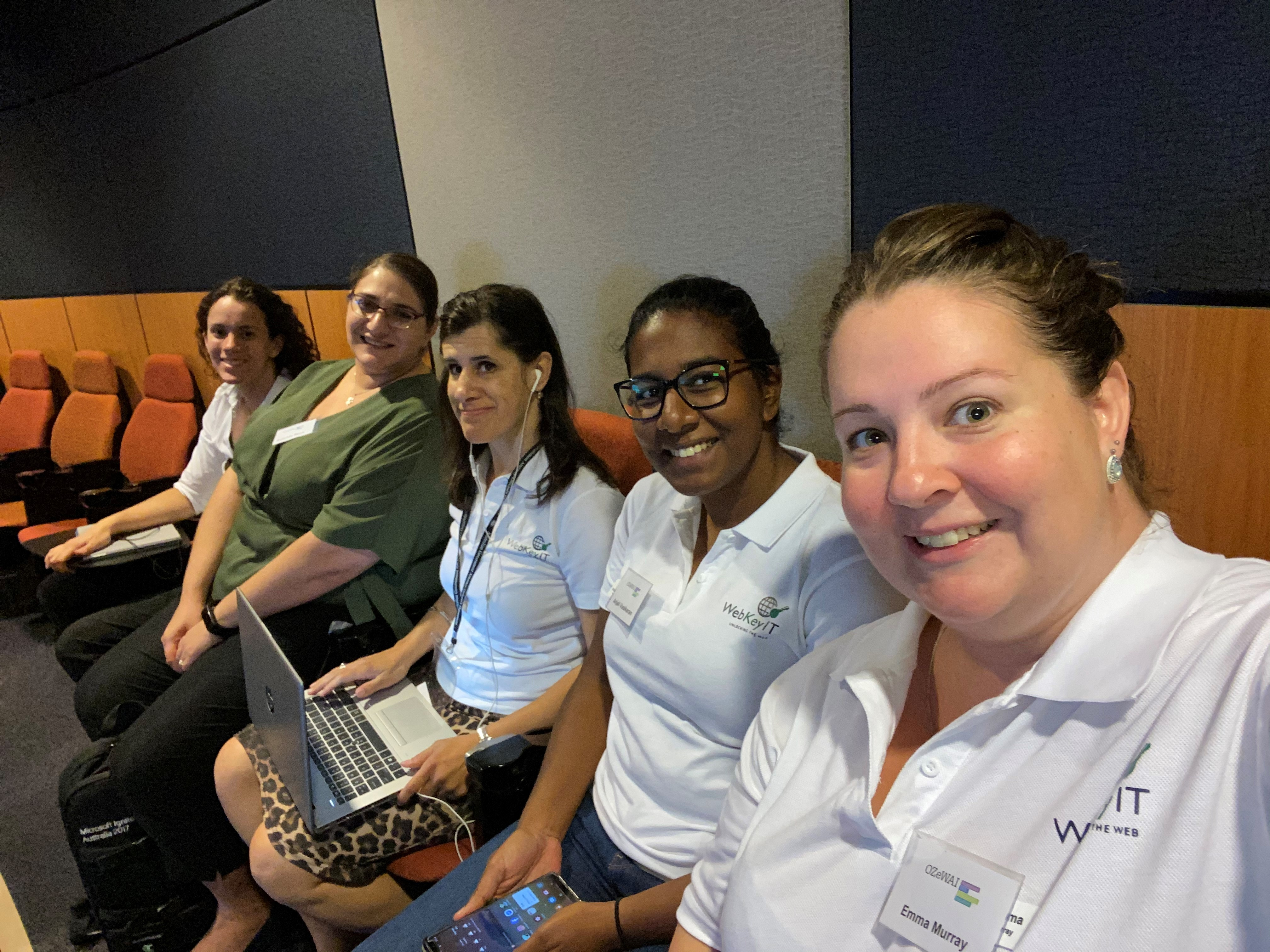 Photo of Christie, Amanda, Zel, Anjali and Emma at the Accessibility Conference