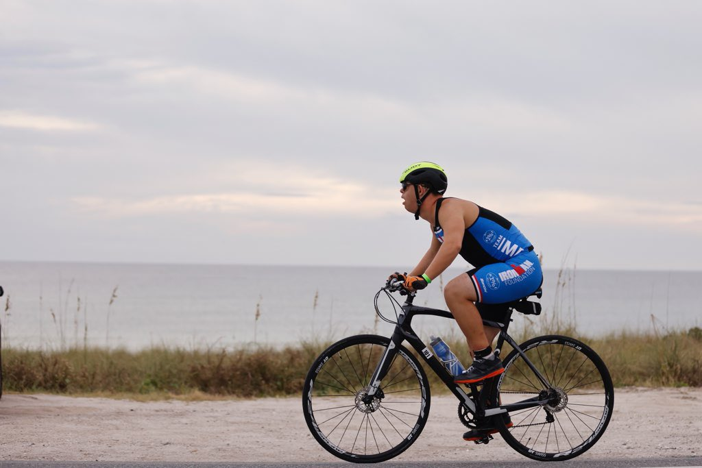 Chris riding his bike